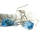 Blue Crystal Earrings Sterling Silver Chain