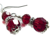 Swarovski Earrings Red with Sterling Silver Sale