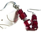 Red Crystal Earrings Square Swarovski Cube 925 Silver
