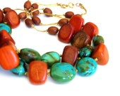 Chunky Statement Necklace - Turquoise and Red Wood -short double strand