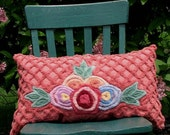 vintage chenille cushion - colorful flowers