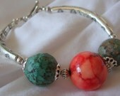 Silver Sunrise Bracelet with Turquoise and Coral