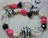 Wild Zebra in Pink and Black Necklace