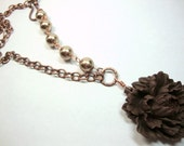 Rich Brown Peony with Bronze Pearls, Bridesmaid Gift, Wedding Jewelry