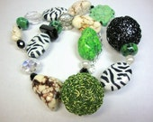 Zebra with Black Green and White Accents Necklace Cowgirl Style