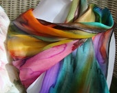 Hand Dyed, Hand Painted Silk, Over the Rainbow Silk Scarf