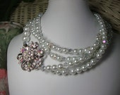 Opera Night Crystal Brooch Pearl & Crystal Long Necklace Bridal Mother of Bride Wedding Jewelry