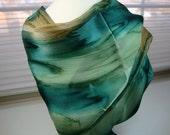 Emerald Eyes Hand Dyed Silk Scarf