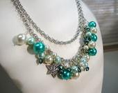 Teal Aqua White Pearl Necklace