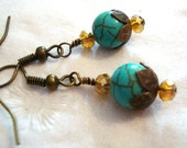 Turquoise Antique Brass Earrings Vintage Style