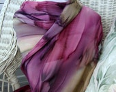 Women, Scarf, Hand Painted Silk, in Plum Wine Reindeer Brown Hand Dyed, Gift for Her