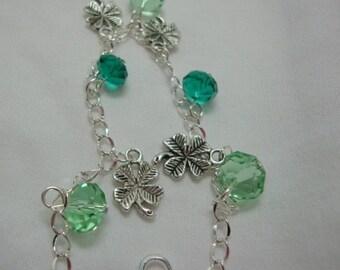 Lucky Four Leaf Clover Green Bracelet