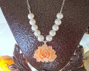 Sweet Caroline Pearl Coral Rose Bridesmaid Necklace Wedding Jewelry