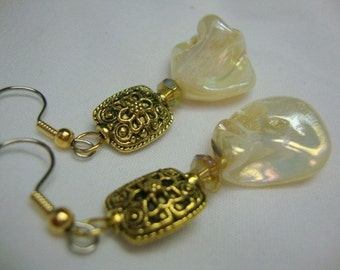 Ivory Freshwater Pearl Nugget with Gold Ornate Bead Classic Elegance Earrings