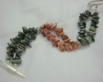 La Bamba Bracelet Green and Rust Double Strand for Women