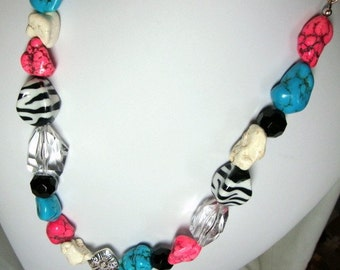 Wild One Chunky Necklace Zebra Pink Turquoise