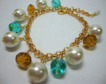 Women, Accessories, Bracelet, Gold Charm Bracelet with Pearls and Crystals