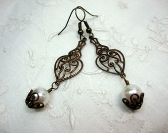 Cherished Love Antique Brass Vintage Style Pearl Earrings