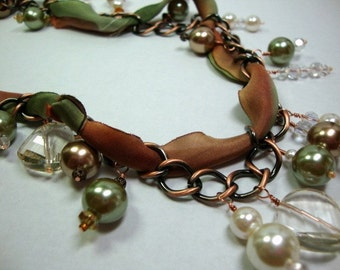 Romantic Elegance with Pearls, Crystals and Silk Necklace