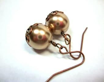 Bronze Pearl Earrings Bride Bridesmaid Formal Wedding Jewelry