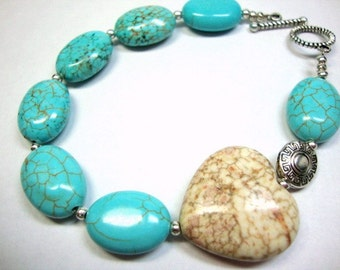 Turquoise Heart and Silver Bracelet