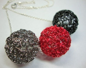 Red Black Gray Big Balls of Color Necklace