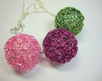 Pink Green Fuchsia Big Balls of Fun Necklace