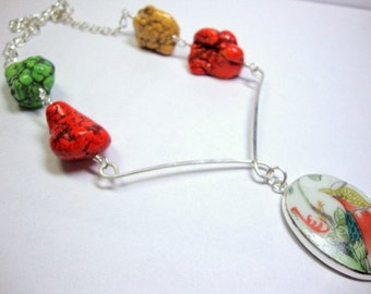 Bold Pottery Shard Necklace with Orange Yellow Green