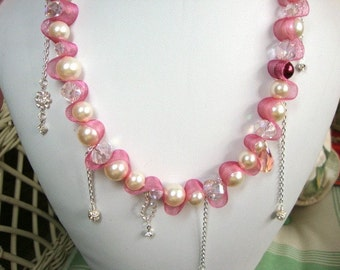 Pretty Pretty Princess Necklace with Ribbon Pearls Crystals Unique Style Formal Occasion Bridal Jewelry