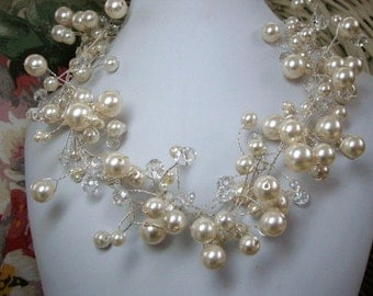 Pearl and Crystal Bridal Wedding Necklace