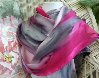 Scarf, Silk, Women, Pink and Gray Prim and Proper Hand Painted Silk Scarf