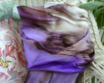 Scarf, Silk, Women, Purple Brown Tan Cream Hand Painted Silk Scarf