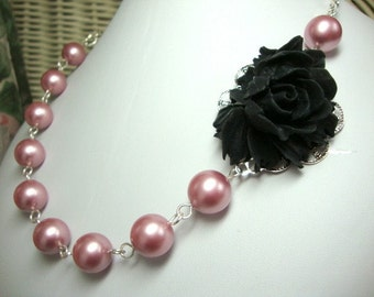 Dusty Rose Necklace FREE Earrings Bridesmaid Necklace Wedding Jewelry
