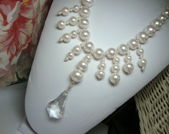 Statement Necklace, Bib Style, Cleavage Plunge Beauty Bold Pearl and Crystal Necklace Bridal Special Occasion Jewelry