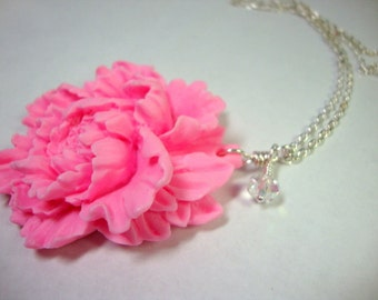 Pink Peony Necklace Bridesmaid Wedding Party Jewelry