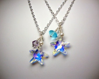 The AB Crystal Starfish Necklace Set of Two Bridesmaid Beach Wedding Jewelry