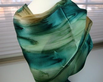 Emerald Eyes Hand Dyed Silk Scarf