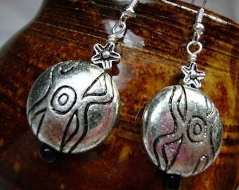 Aztec Silver tone Earrings Lightweight