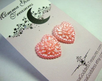 Pretty Pink Heart Earrings for Young Girls