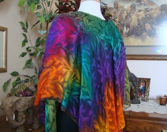 Hand Dyed Over the Rainbow Silk Poncho