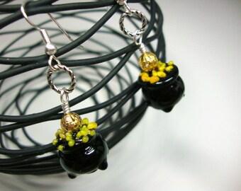 Pot of Gold Lucky Irish Earrings