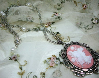 Feminine Fairy Cameo in Pink and White with Pearls and Chain