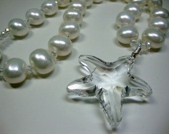 Giant Crystal Starfish White Large Pearl Necklace Beach Wedding Brides Bridesmaids