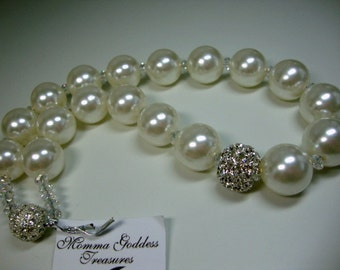 Sunday Best Bold Pearl with Crystal Bling Bridal Necklace
