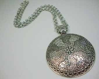 Pewter Silver Large Pendant on Chain