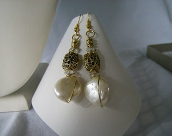 Gold Ivory Pearl Nugget The Bride Wore Pearls Earrings