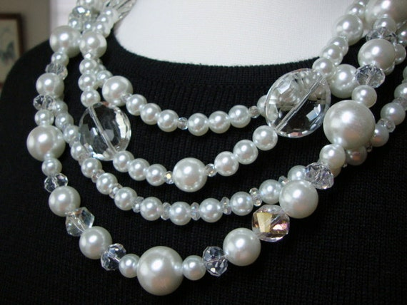 Coco Pearl & Crystal Necklace Bridal Formal Wedding Jewelry