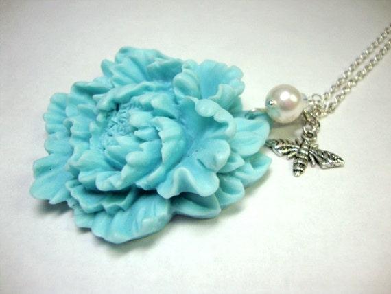 Aquamarine Peony Bee Necklace Bridesmaid Garden Wedding