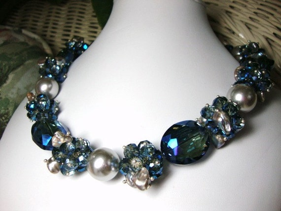Annie Bold Silver Pearls Blue Crystals Necklace in Blue Bridesmaid Mother of Bride Wedding Jewelry