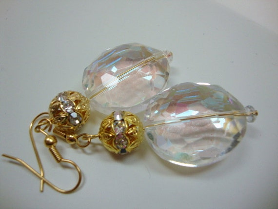 Gold and Clear Bling Earrings Bridal Special Occasion Wedding Jewelry